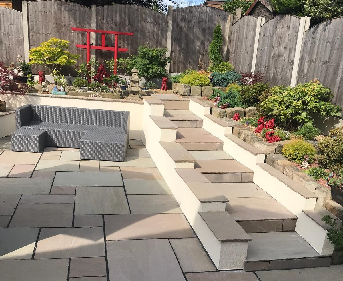 A beautiful patio created by Oakmere Landscaping Ltd in Salford, Greater Manchester. call for a quote